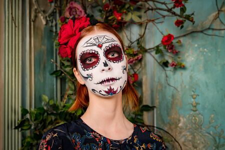 Day of dead holiday. Halloween. People in costume Stock fotó