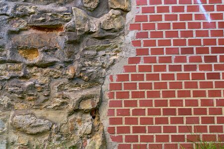 Section of new and old stone brick Stok Fotoğraf