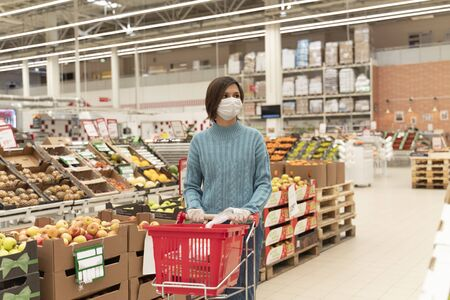 Girl in medical mask makes stock products market