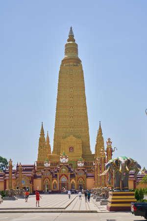 Tourist destination, high Golden temple in Thailand-February 26, 2020. Wat Mahathat Wachiramongkol Former name (Wat Bang Tong) is located Krabi, towering pagoda is beautiful Editorial