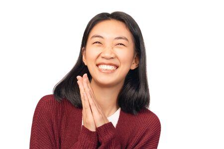 Thankful Girl keeps hands, expresses manners heart Standard-Bild