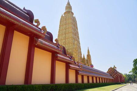 Tourist destination high Golden temple in Thailand
