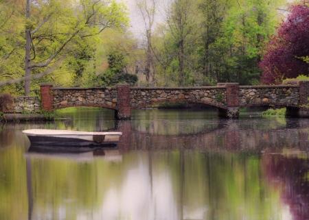 Little Boat and the Bridge Stock Photo
