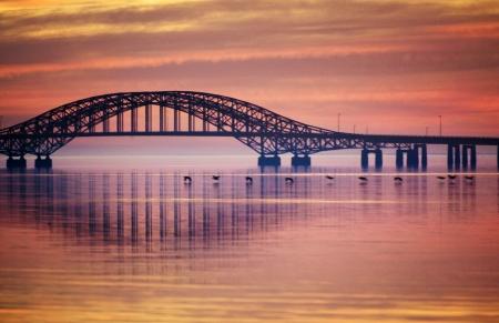 Orange Bridge Reflection Stock Photo