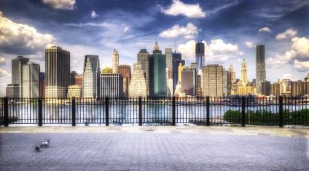 Manhattan from the Brooklyn Promenade Stock Photo