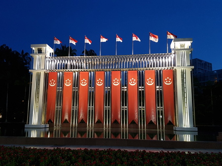 Singapore Flag Banners Hanging Editorial