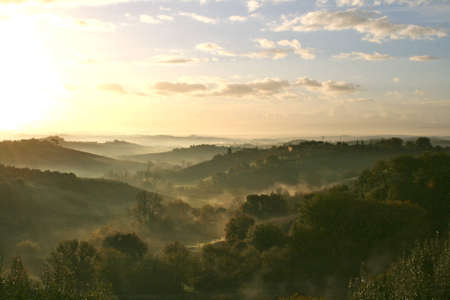 Toscane Sunrise Stockfoto - 13541431