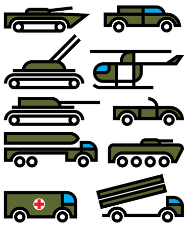 military vehicles and equipment signs Vector