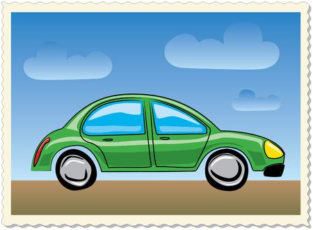 cartoon-style green car Vector
