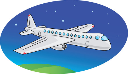 Cartoon Passagierflugzeug mit Abend himmel hintergrund