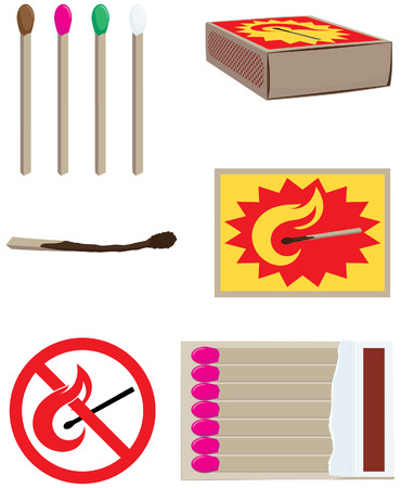caja de cerillas: elementos de la ilustraci�n y el dise�o con partidos de vectores