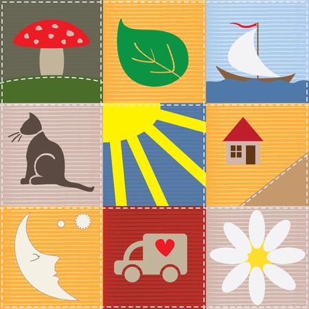 Funny Kinder patchwork Illustration