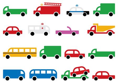 schoolbus: city transport equipment, symbols and design elements Illustration