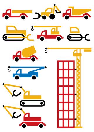 camion grua: m�quinas de construcci�n y equipos, elementos de dise�o  Vectores