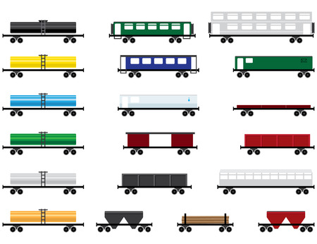 boxcar:  illustration of railway cars collection, design elements