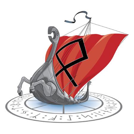 Vikings: Vikings ship sea cruise vector illustration, runes and signs