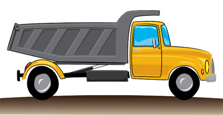 dumptruck: cartoon-style red hopper  illustration, design elements Illustration