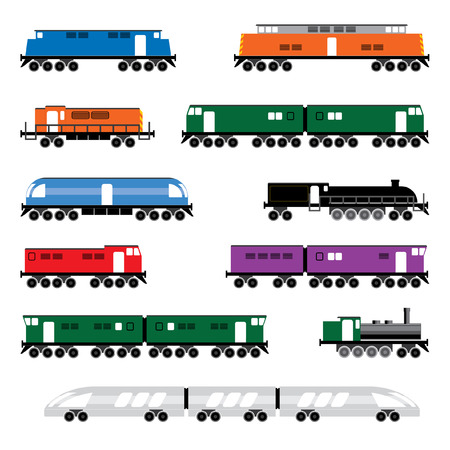 diesel train: colored locomotive symbol set,   illustration, design elements