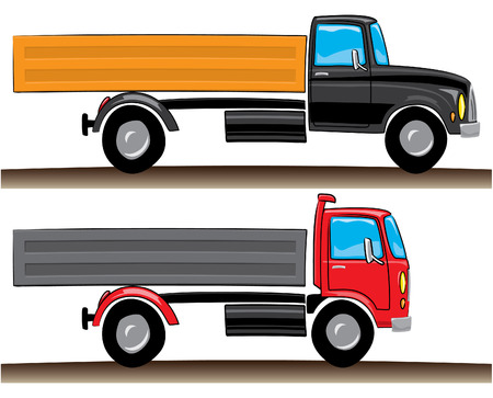 autotruck: Red and black lorries,  illustration and design elements