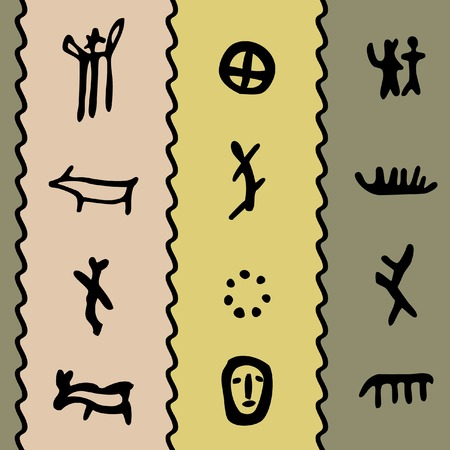 coloured seamless texture with petroglyphs illustration Stock Vector - 7805896