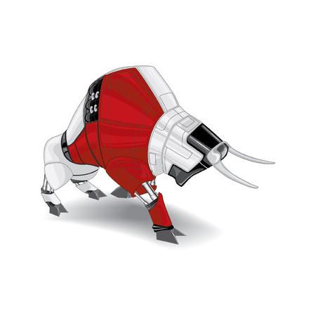 assail: aggressive cyborg red, black and white bull  illustration Illustration