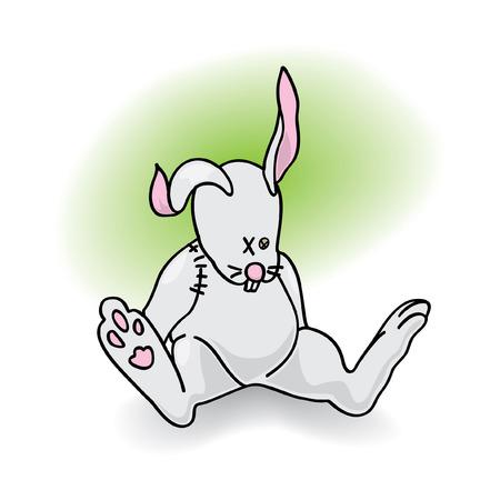 lamentable: children toy gray bunny   illustration