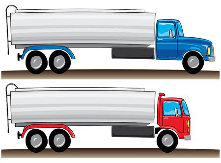 carting: dibujo animado de estilo rojo y azul de motores de tanque de carretera  Vectores