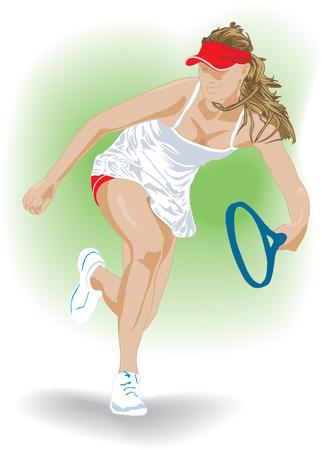 tennis racquet: Chica de tenis con la raqueta de azul