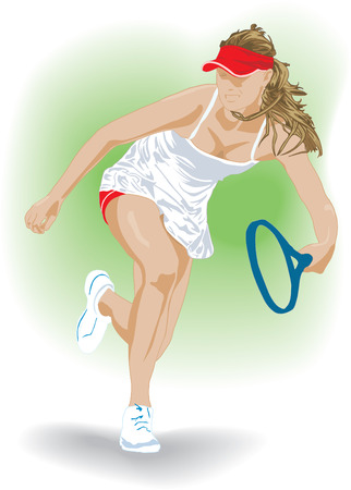 tennis girl: Lawn tennis girl with blue racket