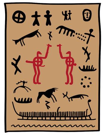 pintura rupestre: Pintura de Viking con animales cazadores y guerreros