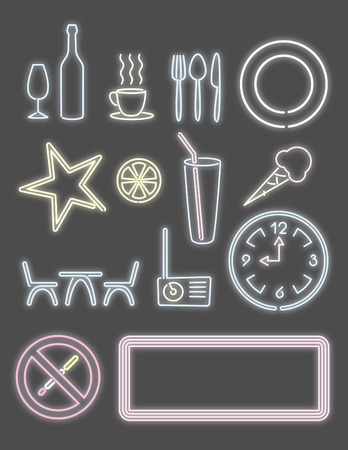clock radio: luz de ne�n para el pub de caf� y bar elementos de dise�o  Vectores