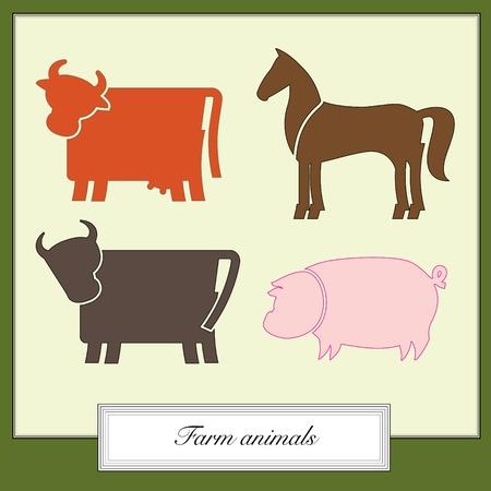 bossy: farm animals colored silhouettes set Illustration