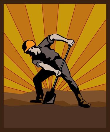 kohle: Poster mit Navvy mit roten Sonnenaufgang Hintergrund