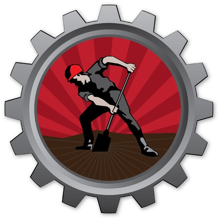 ideograph: badge with navvy with red sunrise background