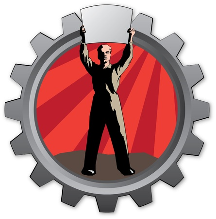badge with worker man with declaration  Vector