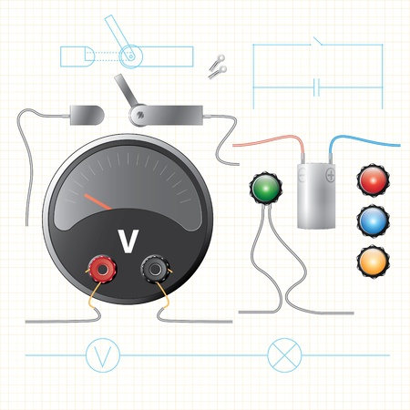 voltmeter: electric light and power supply objects set