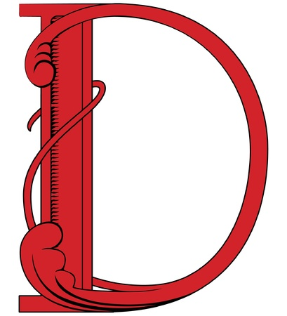decorative letter: Old styled decorative characters. Character d