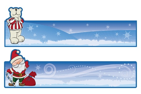 two christmas banners with white bear and Santa Claus on backdrop with snowflakes, stars, snowstorm for web and high quality print Stock Vector - 10828518