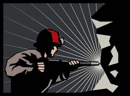 Pre�lufthammer: Bergarbeiter mit Presslufthammer Illustration