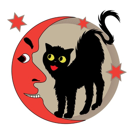 black cat and red crescent Stock Vector - 10828506