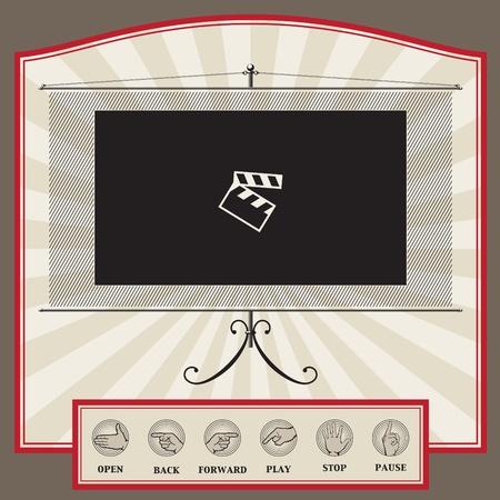 Web-Interface Template im Vintage-Stil für Video-Player, Video-Blog oder eine Video-Broadcasting Seite