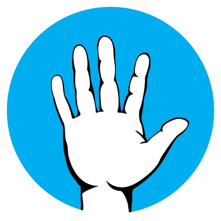 halt: warning gesture by open palm label with cyan background Illustration