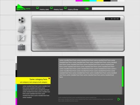 Personal Website or Video WebLog Design Template light grey Theme Vector Stock Vector - 10828517