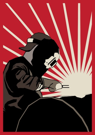 Poster mit Schweißer am Arbeitsplatz Illustration