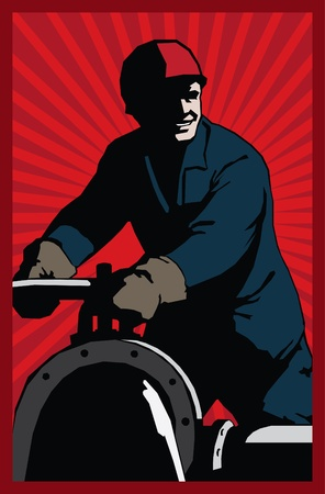poster style oil man with red sunrise background Illustration