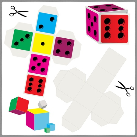 assemble: paper model of dices for cut out and assemble Illustration