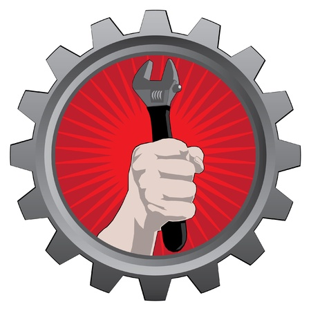 labor strong: metal badge with hand with spanner
