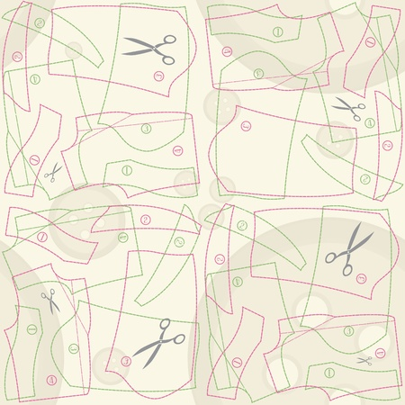 dressmaking: decorative tailors pattern seamless background