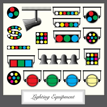 lighting equipment units and sympols set in vintage style Stock Vector - 10828512