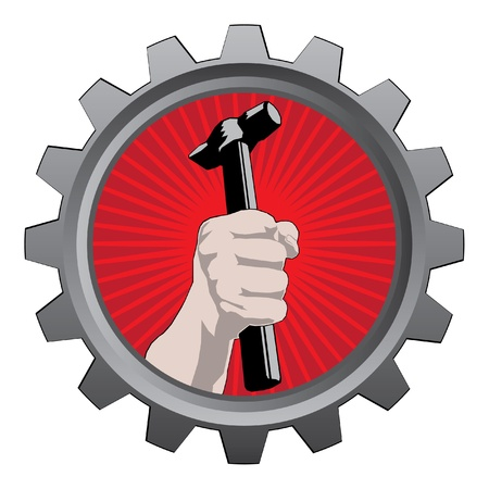 claw hammer: metal badge with hand with hammer Illustration
